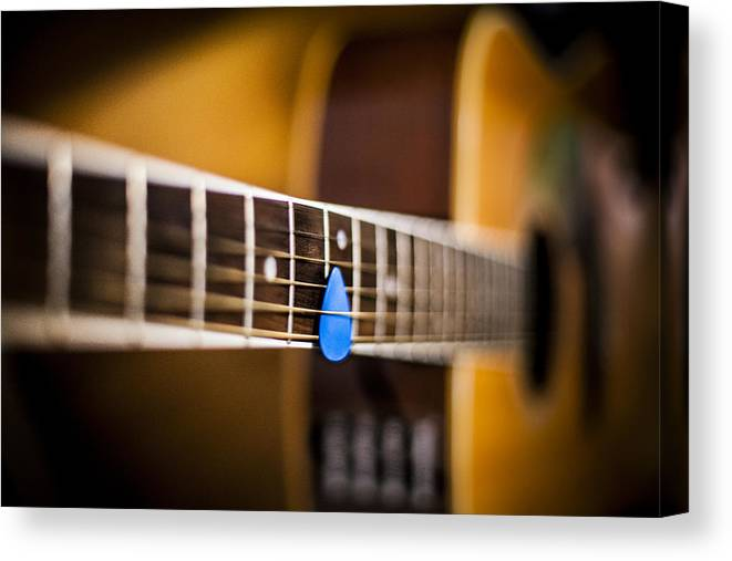 Acoustic Canvas Print featuring the photograph 6th Fret by Chris Halford