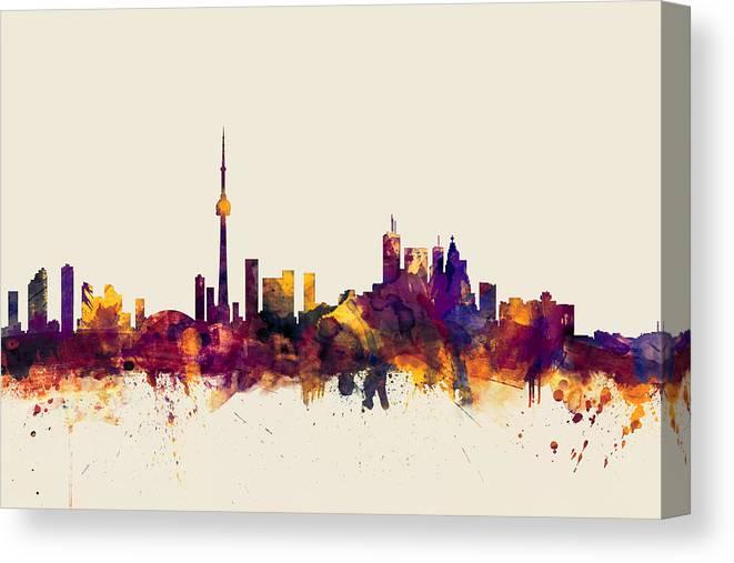 Toronto Canvas Print featuring the digital art Toronto Canada Skyline by Michael Tompsett