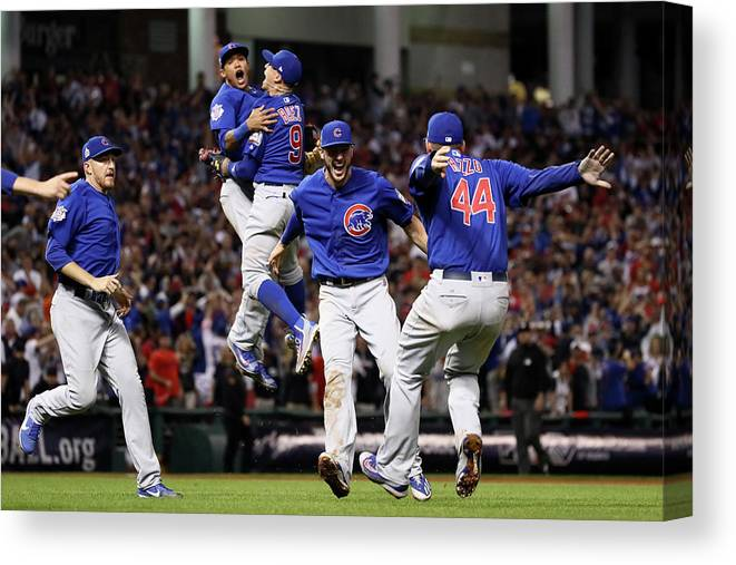 People Canvas Print featuring the photograph World Series - Chicago Cubs V Cleveland 7 by Ezra Shaw