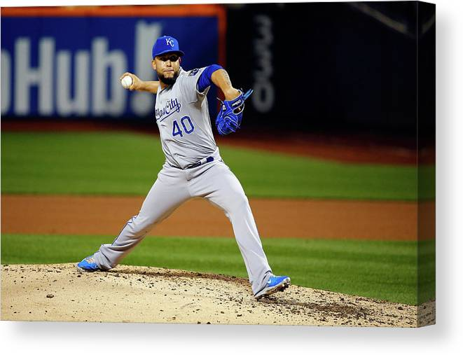People Canvas Print featuring the photograph World Series - Kansas City Royals V New 7 by Al Bello
