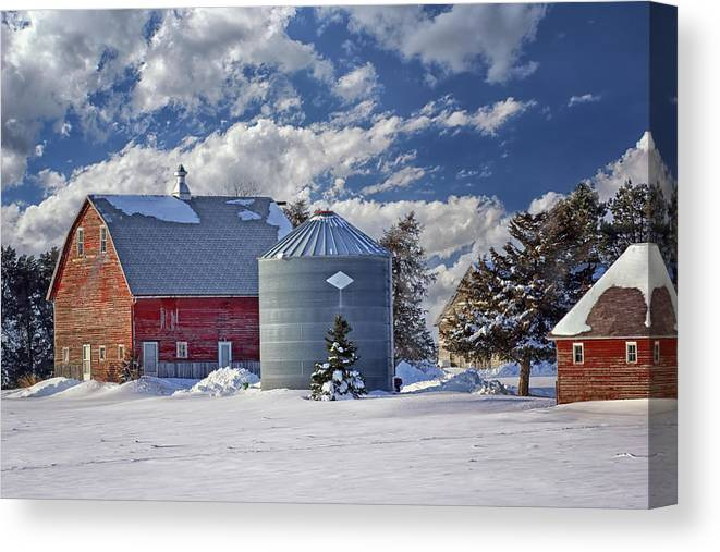 Red Barns Canvas Print featuring the photograph A Beautiful Winter Day by Nikolyn McDonald