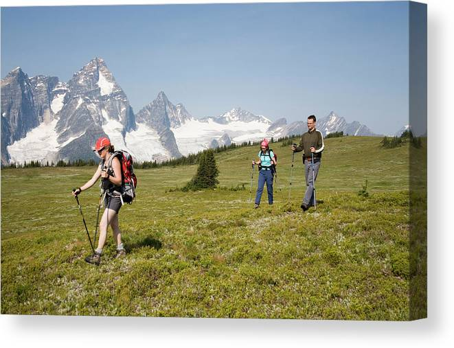 Adult Canvas Print featuring the photograph A Group Of Hikers In The Selkirk by Dan Shugar