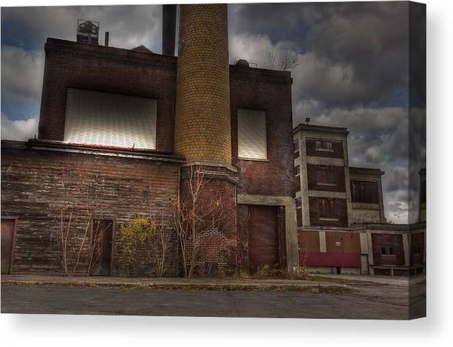 Abandoned Warehouse Canvas Print featuring the photograph Abandoned In Hdr 2 by Tim Buisman