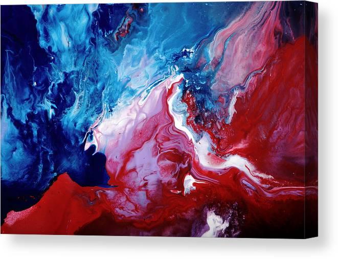 Abstract Art Blue Red White By Kredart Canvas Print