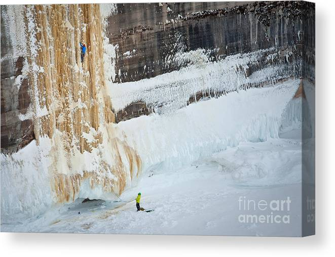 Ice Climbing Canvas Print featuring the photograph Adam Leading Hmr by Mike Wilkinson