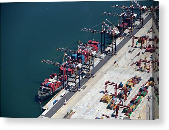 Freight Transportation Canvas Print featuring the photograph Aerial View Of Container Ship Moored At by Echo