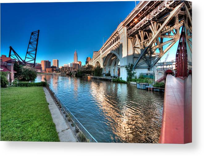 Hdr Canvas Print featuring the photograph All Roads Lead To Cleveland by John Magyar Photography