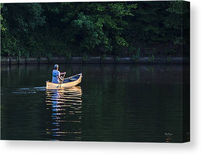 Canoe Canvas Print featuring the photograph Alone On The Lake by Barry Jones