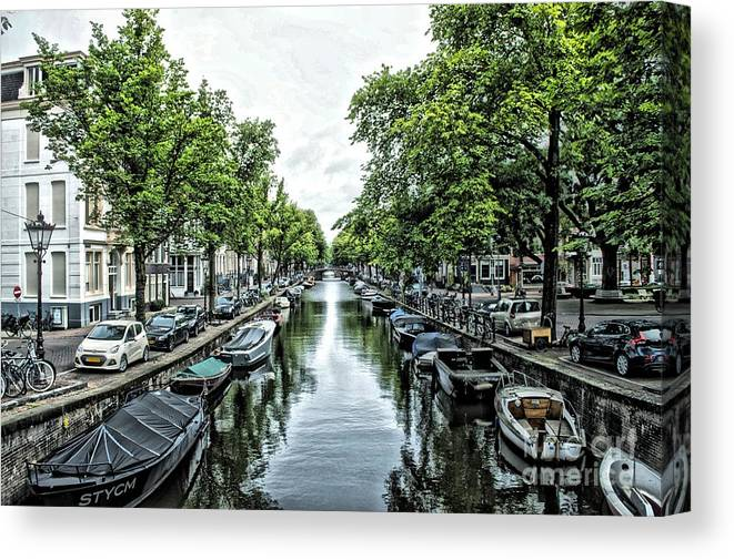 Canvas Print featuring the digital art Amsterdam Canal by Allen Hall