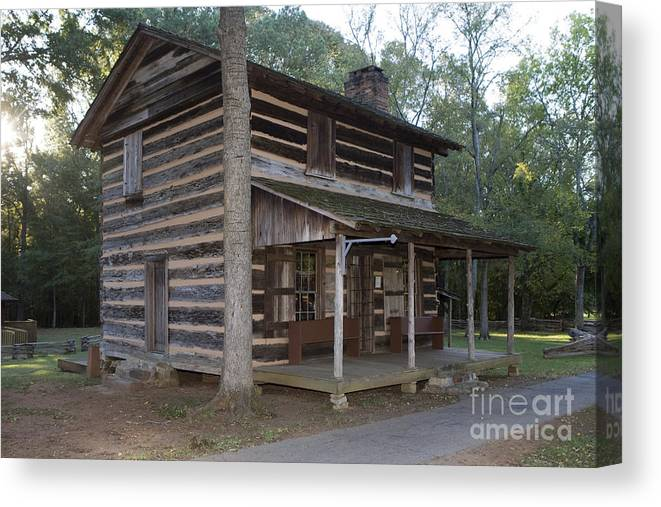 Log Cabin Canvas Print featuring the photograph Andrew Logan Log Cabin Ninety Six National Historic Site by Jason O Watson