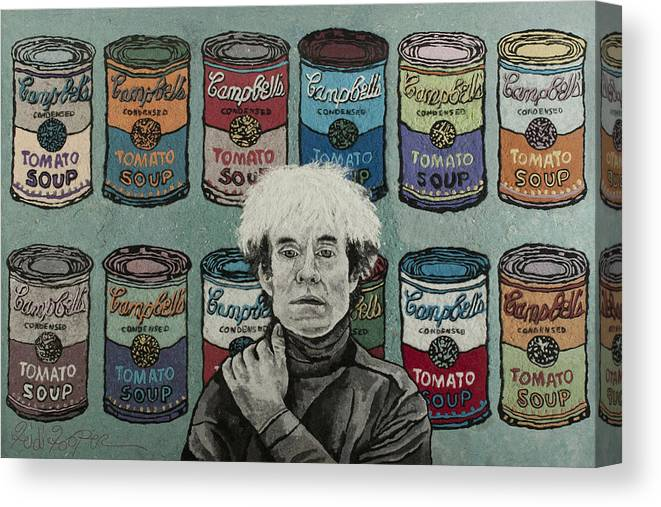 Andy Warhol Canvas Print featuring the mixed media Andy Warhol by Heidi Hooper