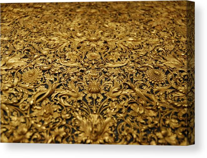 Antique treasure golden wood carving of floral patterns canvas print