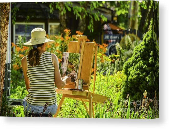 Activity Canvas Print featuring the photograph Art In The Garden by Mary Carol Story