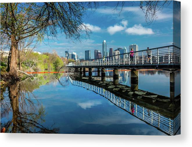 Photography Canvas Print featuring the photograph Austin Skyline And Lady Bird Lake - by Panoramic Images