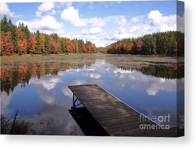 Autumn Canvas Print featuring the photograph Autumn Dock by David Rucker