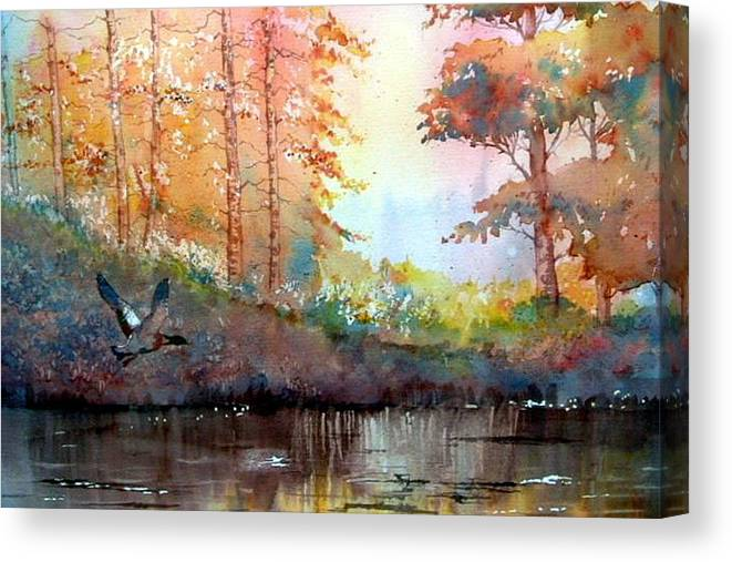 Glenn Marshall Artist Canvas Print featuring the painting Autumn Reflections by Glenn Marshall