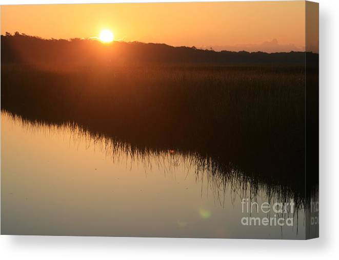 Sunrise Canvas Print featuring the photograph Autumn Sunrise Over The Marsh by Nadine Rippelmeyer
