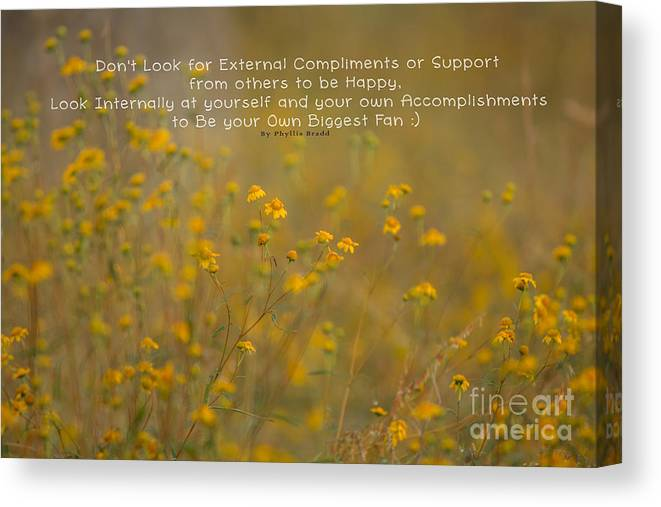 Nature Canvas Print featuring the photograph Autumn Wildflowers W Quote by Phyllis Bradd