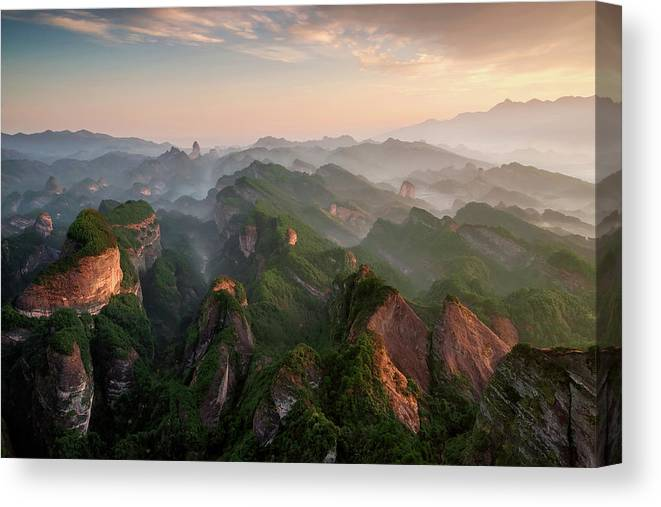 Landscape Canvas Print featuring the photograph Bajiaozhai Park by Tony Shi