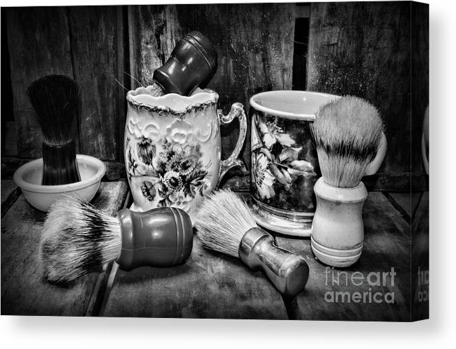 Paul Ward Canvas Print featuring the photograph Barber - Shaving Mugs And Brushes In Black And White by Paul Ward