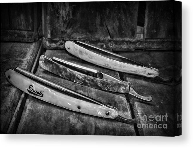 Paul Ward Canvas Print featuring the photograph Barber - Vintage Razors In Black And White by Paul Ward