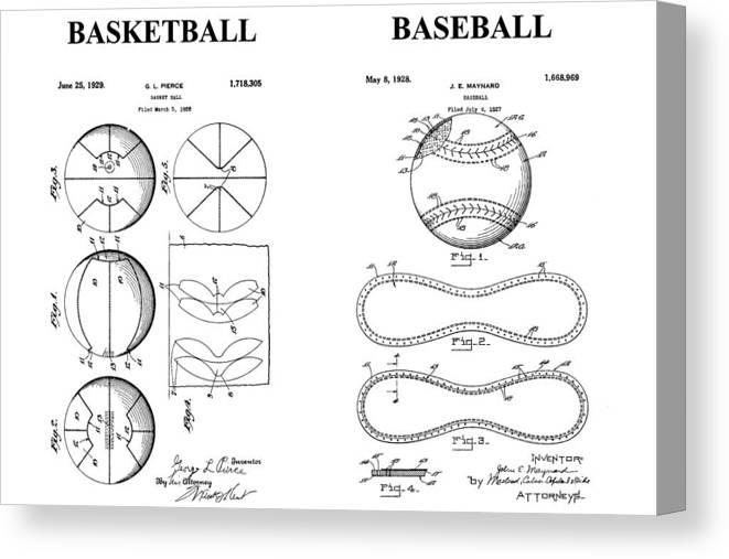 Baseball And Basketball Patent Drawing Canvas Print