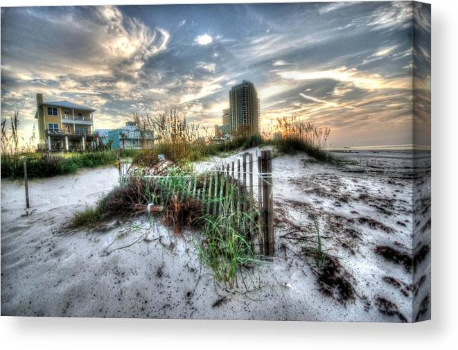 Alabama Canvas Print featuring the digital art Beach And Buildings by Michael Thomas