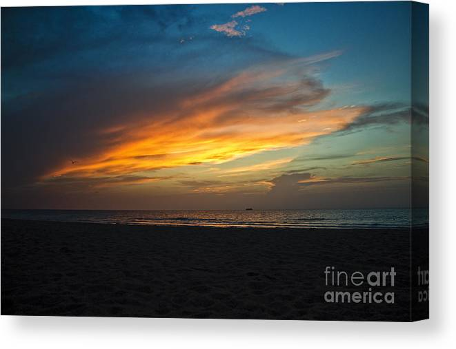 Sunrise Canvas Print featuring the photograph Beach Sunrise by Brahimou NG
