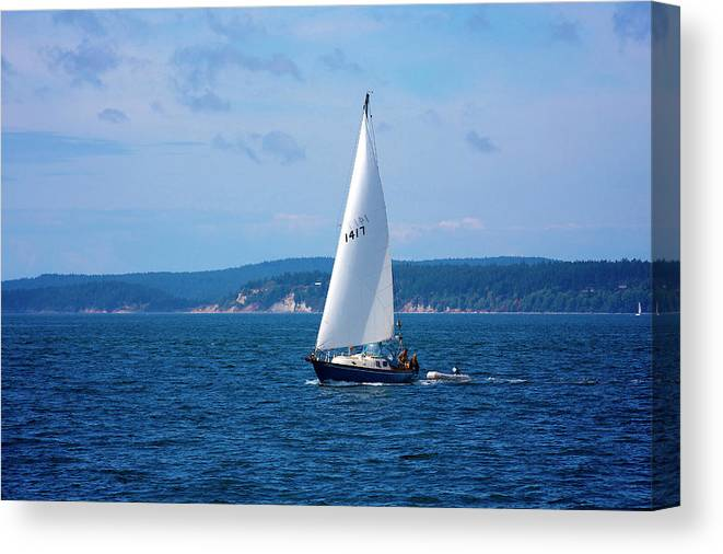 Wind Canvas Print featuring the photograph Beautiful Boat Sailing At Puget Sound by Evgeny Vasenev