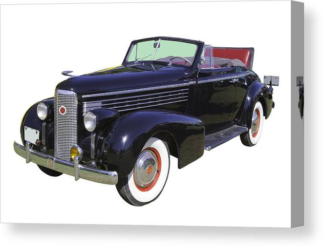 1938 Cadillac Lasalle Canvas Print featuring the photograph Black 1938 Cadillac Lasalle by Keith Webber Jr
