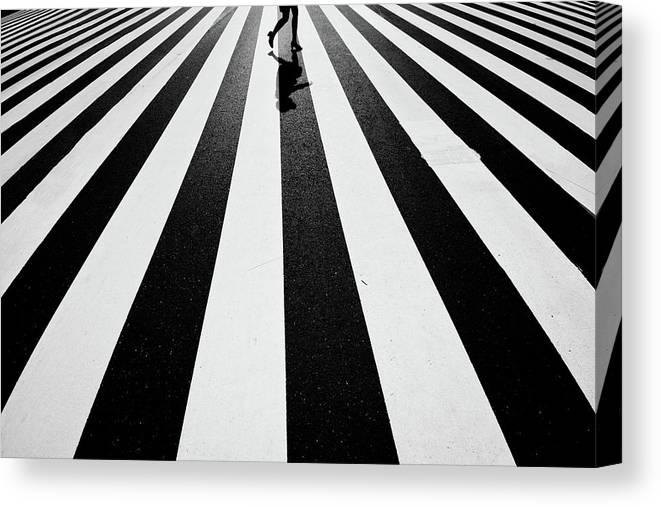 Street Canvas Print featuring the photograph Black And White by Kouji Tomihisa