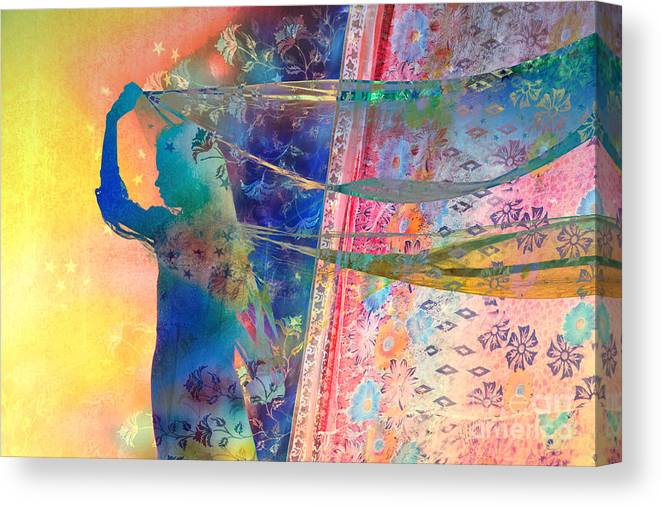 Indian Girl Canvas Print featuring the photograph Blowing In The Wind by Tim Gainey
