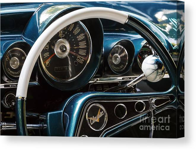 1959 Canvas Print featuring the photograph Blue '59 Classic Dash by Dennis Hedberg