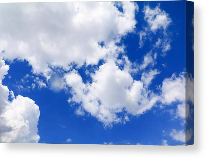 Blue Sky With Big Cloud And Rain Cloud, Art Of Nature Beautiful And Copy  Space For Add Text Canvas Print