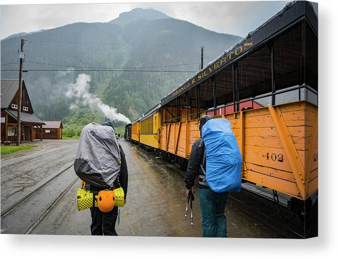 Walking Canvas Print featuring the photograph Boarding The Durango Silverton Narrow by Taylor Reilly