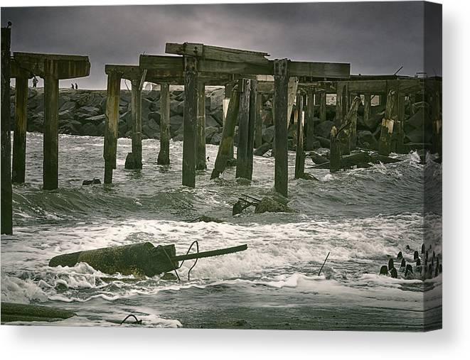 Joan Carroll Canvas Print featuring the photograph Boardwalk Remnants by Joan Carroll