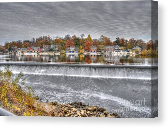 Philadelphia Canvas Print featuring the photograph Boathouse Row Across The Dam by Mark Ayzenberg