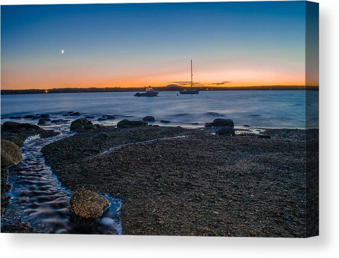 Sunset Canvas Print featuring the photograph Boats At Sunset by Jeff Ortakales