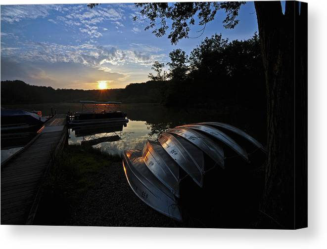 Boat Canvas Print featuring the photograph Boats At Sunset by Patrick Friery