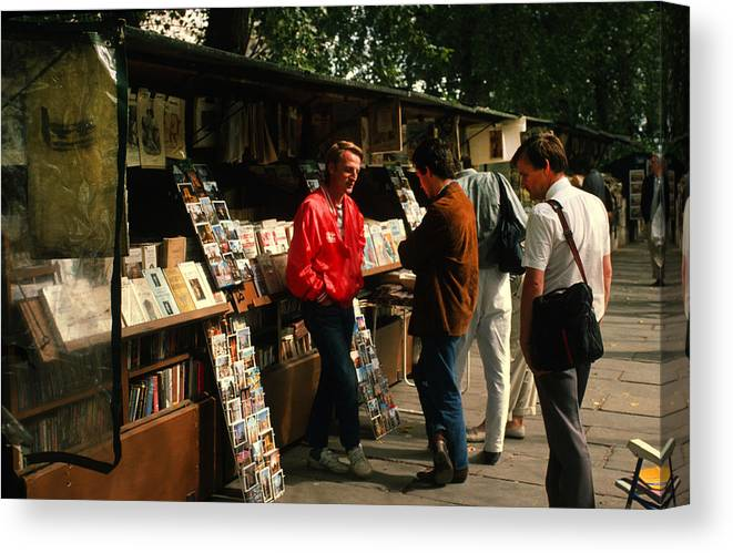 Bookstalls Canvas Print featuring the photograph Bookstalls On Left Bank by Carl Purcell