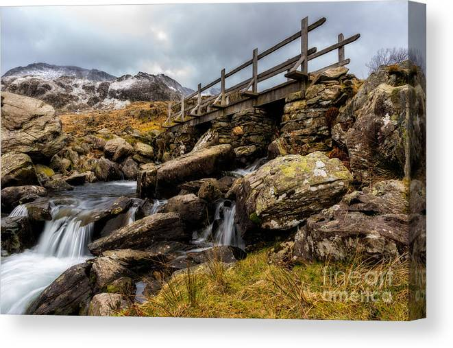 Waterfall Canvas Print featuring the photograph Bridge To Idwal by Adrian Evans