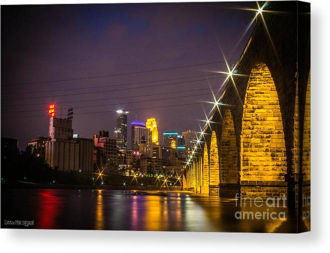 Downtown Canvas Print featuring the photograph Bridge With A View by Nicole Engstrom