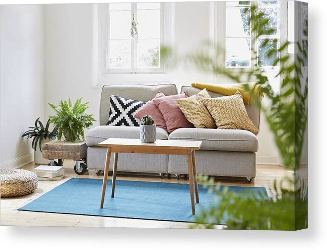 Bright Modern Living Room In An Old Country House Canvas Print