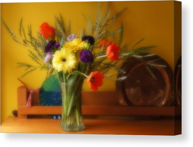 Carnations Canvas Print featuring the photograph Bright Winter Bouquet by Ronda Broatch