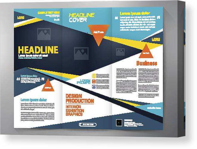 Brochure 3 Fold Flyer Design A4 Template  Canvas Print
