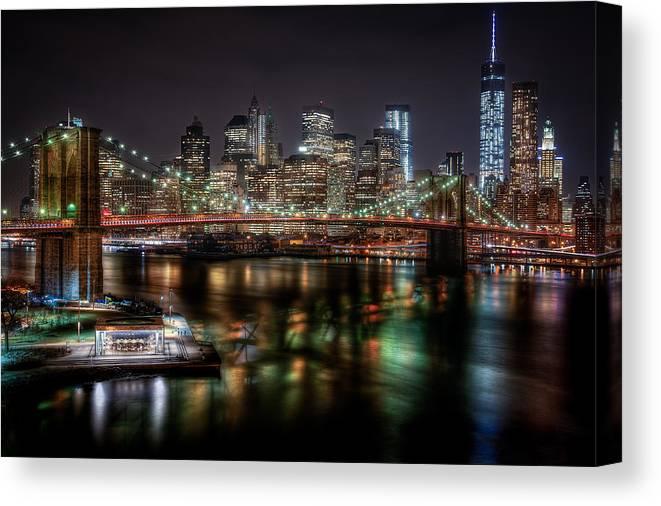 Manhattan Canvas Print featuring the photograph New York City Skyline From Brooklyn by Joseph Nuzzo