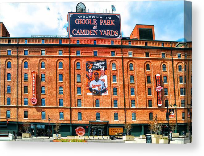 Camden Yards Canvas Print featuring the photograph Camden Yards by Bill Cannon