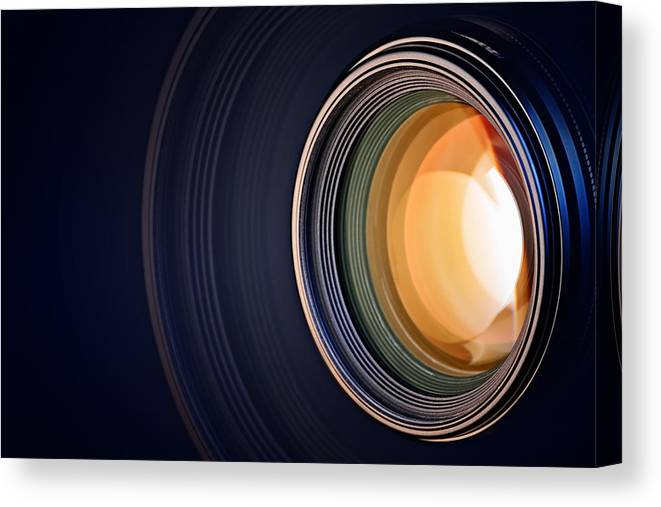 Lens Canvas Print featuring the photograph Camera Lens Background by Johan Swanepoel