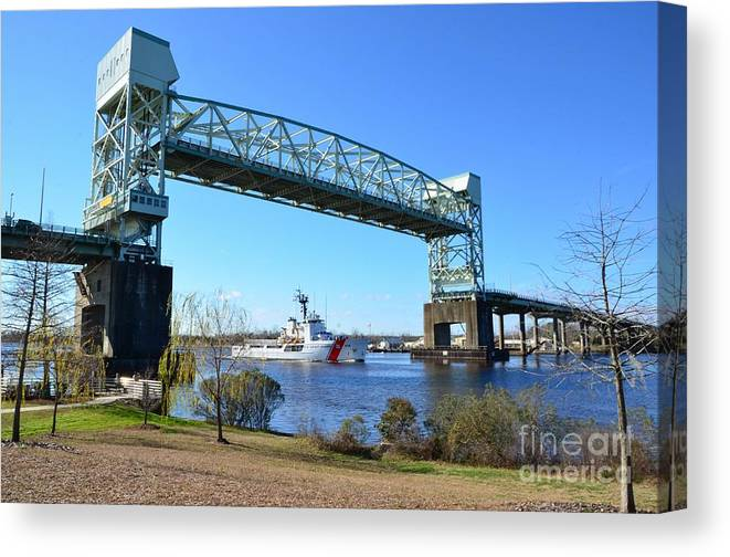 Red Canvas Print featuring the photograph Cape Fear Draw Bridge by Bob Sample