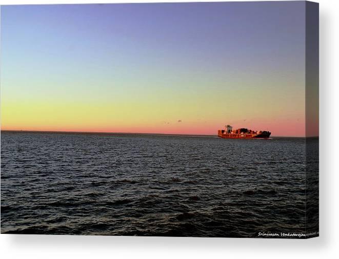 Cargo Canvas Print featuring the photograph Cargo Ship @ Chesapeake Bay Bridge Tunnel by Srinivasan Venkatarajan